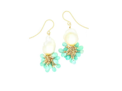 Baroque Pearl and Amazonite Cluster Hook Earrings