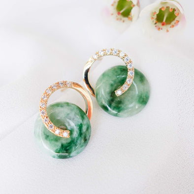 Cross Loop Jade Ear Studs C14