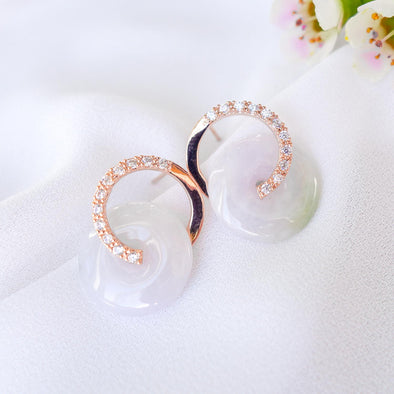 Cross Loop Jade Ear Studs C28