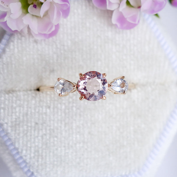 Candy Ring with Morganite and Sapphire - 14K Rose Gold CMSR494Y
