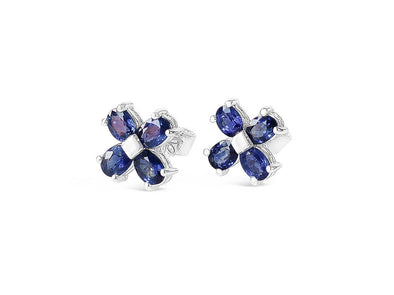 Four Leaf Clover Sapphire Ear Studs in 18K White Gold