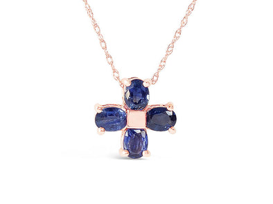 Four Leaf Clover Sapphire Pendant in 14K Rose Gold