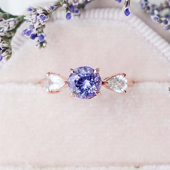 Candy Tanzanite Ring with Sapphire in 14K Rose Gold - CTR4R12