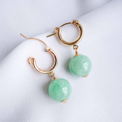 Chic Ear Hoops with Green Jade Beads