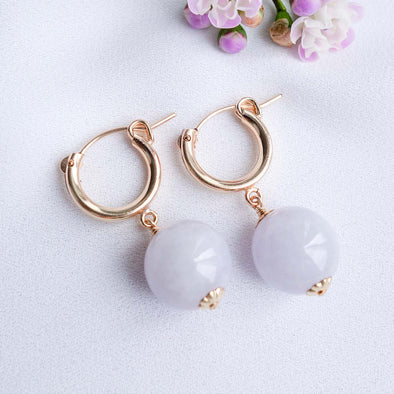 Chic Ear Hoops with Lavender Jade Beads