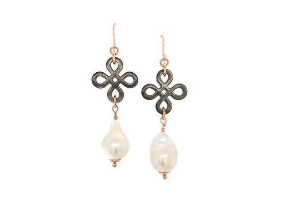Chinese Knot Baroque Pearl Earrings - Rose Gold Filled