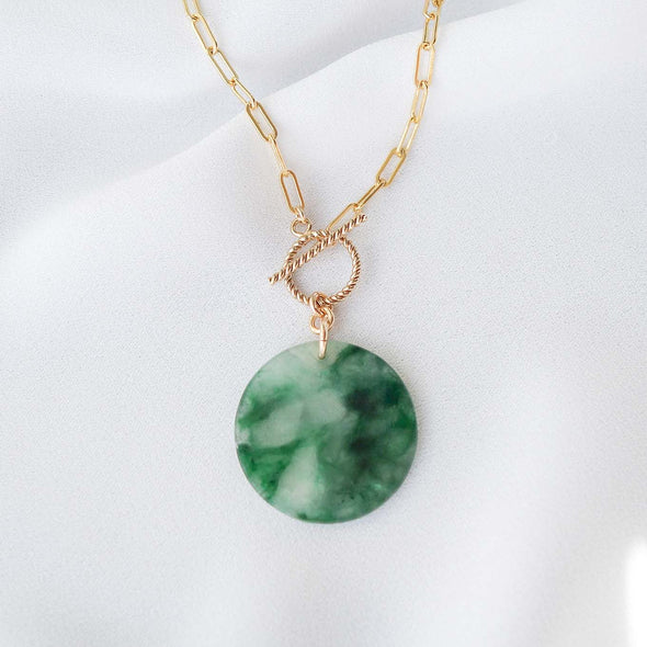Small Round Unique Jade Necklace with Toggle Clasp - D025