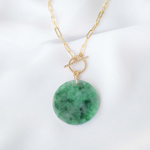 Small Round Unique Jade Necklace with Toggle Clasp - D032
