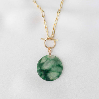 Small Round Unique Jade Necklace with Toggle Clasp - D040