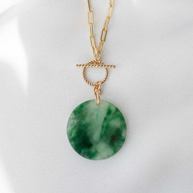 Small Round Unique Jade Necklace with Toggle Clasp - D043