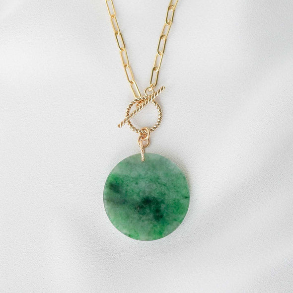 Small Round Unique Jade Necklace with Toggle Clasp - D044