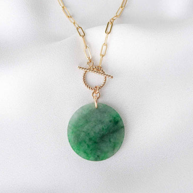 Small Round Unique Jade Necklace with Toggle Clasp - D046