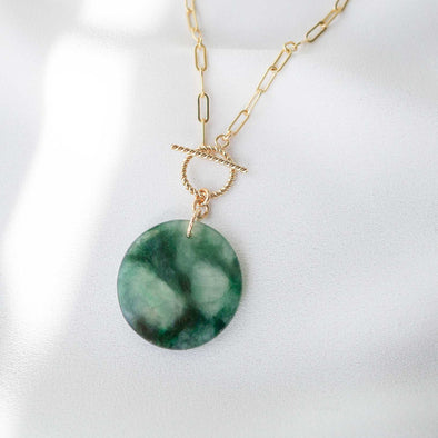Small Round Unique Jade Necklace with Toggle Clasp - D047