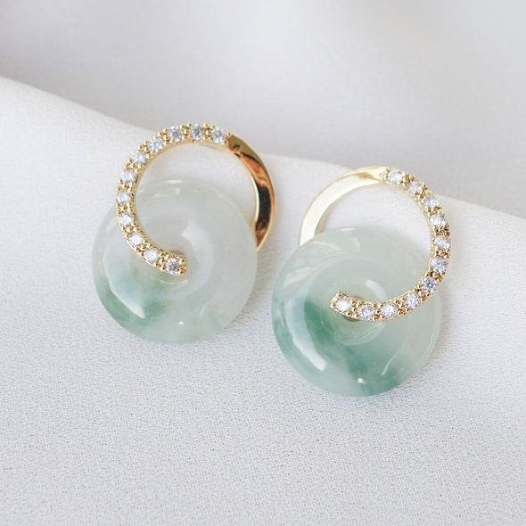 Cross Loop Jade Ear Studs D12