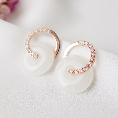 Cross Loop Jade Ear Studs D74