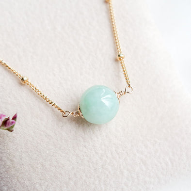 Floating Jade Necklace - Ball Chain