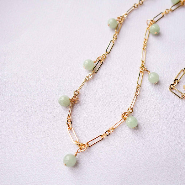 Paperclip Choker Jade Necklace