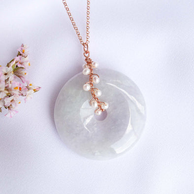 Long Lavender Jade with Pearl Vine Necklace
