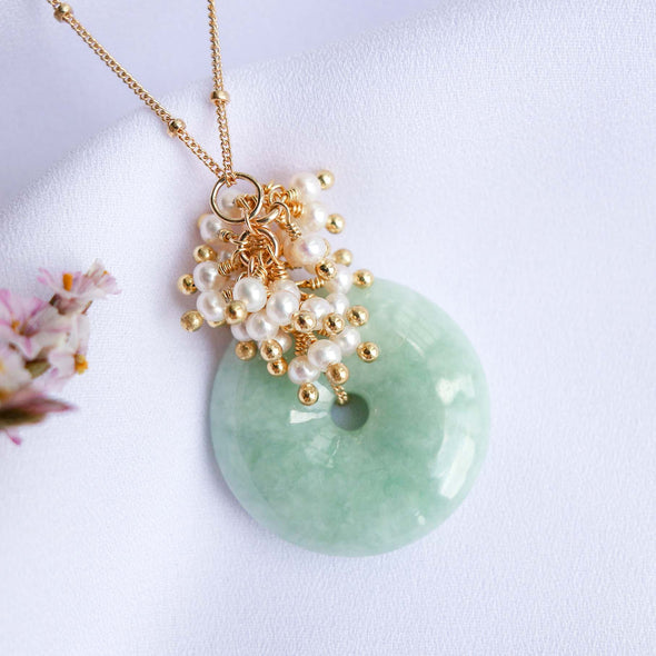 Green Jade with Pearl Cluster Necklace