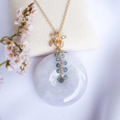 Long Lavender Jade Necklace with Orchid Bail and Green Sapphire Vine