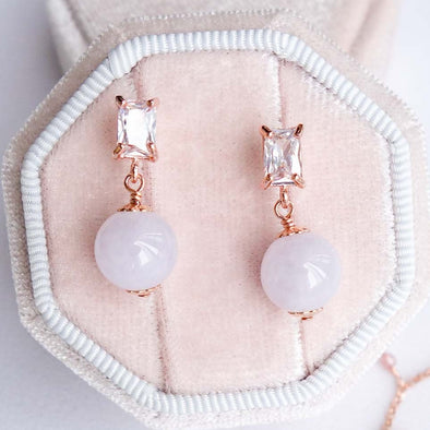 Lavender Jade with Baguette Ear Studs