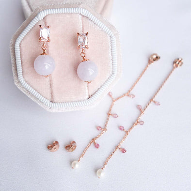 Lavender Jade with Baguette Ear Studs and Dangling Ear Backs