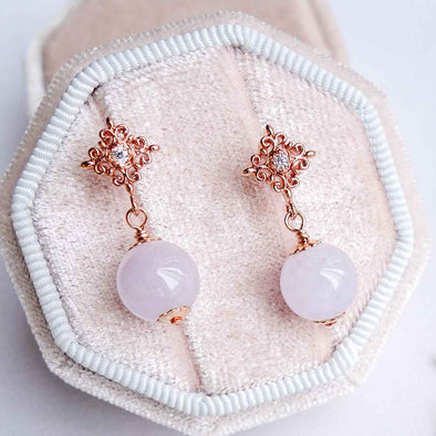 Lavender Jade with Intricate Ear Studs