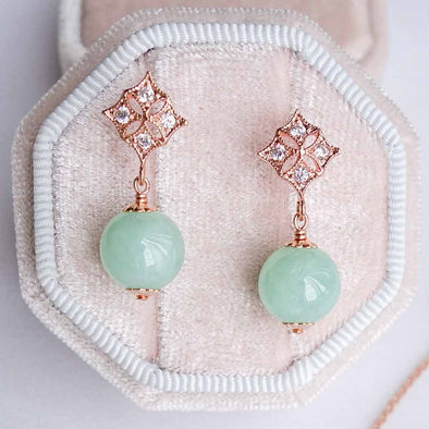 Green Jade with Diamond Ear Studs