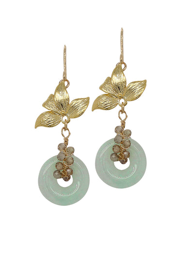Jade with Spinel Vine Floral Hook Earrings