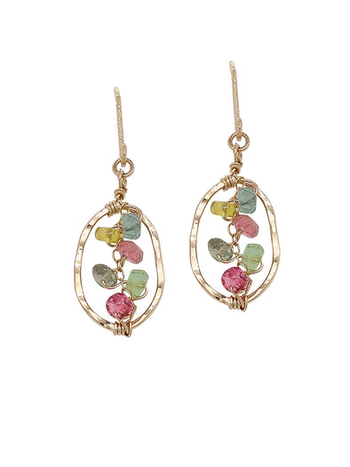 Tourmaline Vine Hammered Frame Earrings