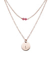 Round Disc Pendant and Tiny Gem Necklace Set