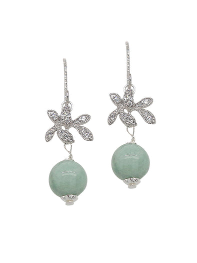 Jade with Sparkling Orchid Hook Earrings