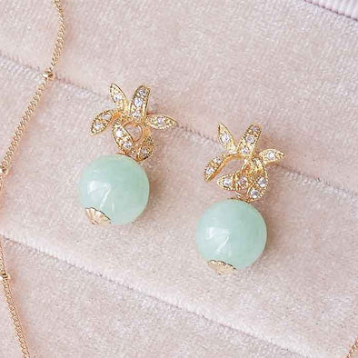 Orchid Ear Studs with Green Jade