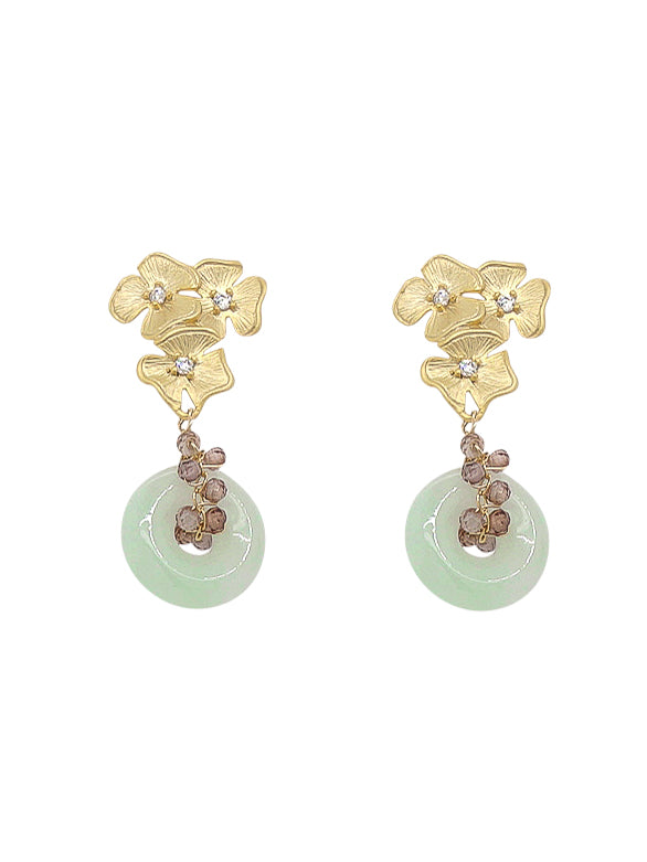 Jade with Spinel Vine Floral Stud Earrings