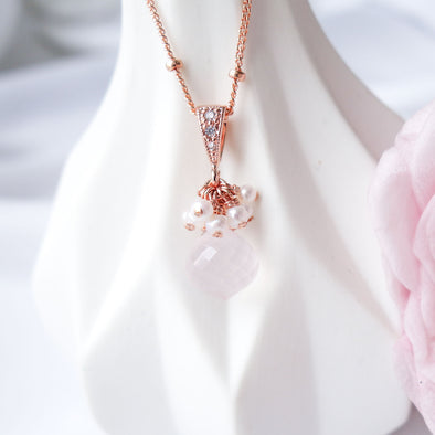 Rose Quartz with Pearl Cluster Necklace