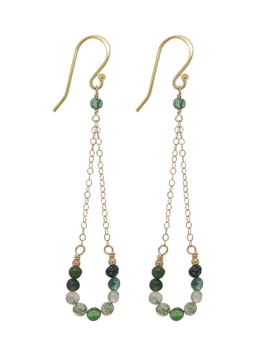 Lucky Horseshoe Hook Earrings - Moss Agate