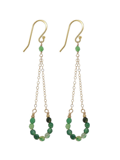 Lucky Horseshoe Hook Earrings - African Jade