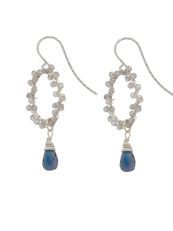 London Blue Topaz and Labradorite Hook Earrings