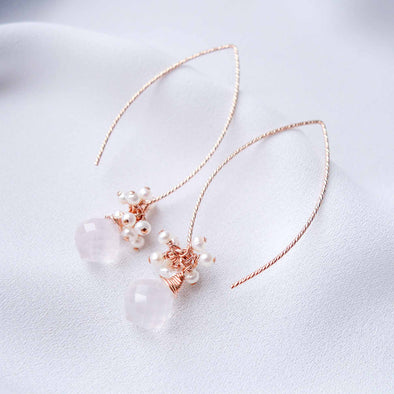 Sleek Rose Quartz with Pearl Cluster Hook Earrings