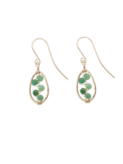 African Jade Vine Hammered Frame Earrings