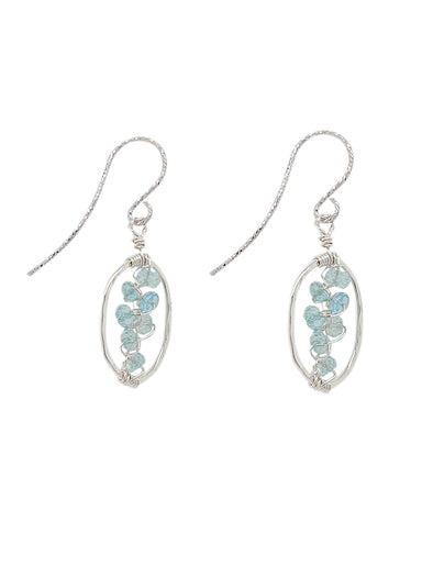 Sky Blue Topaz Vine Hammered Frame Earrings