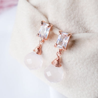 Rose Quartz with Baguette Ear Studs