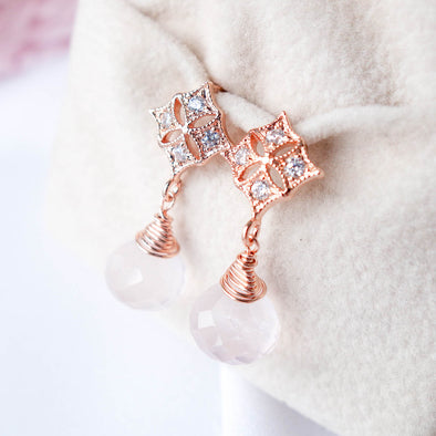 Rose Quartz with Diamond-shaped Ear Studs