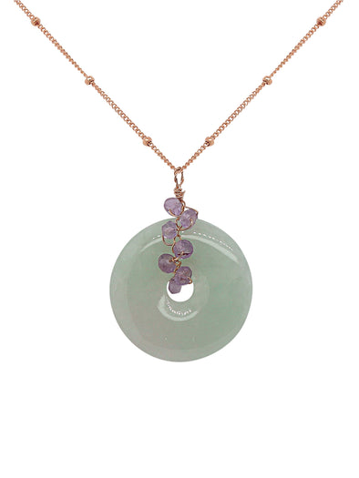 Jade with Pink Amethyst Necklace