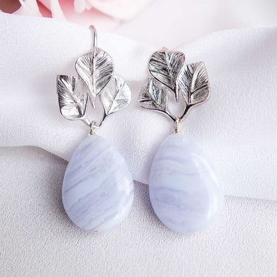 Triple Leaf Ear Hooks with Teardrop Blue Lace Agate