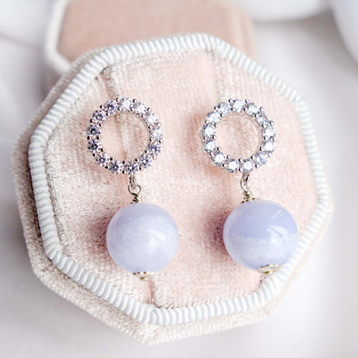 Halo Ear Studs with Blue Lace Agate Bead