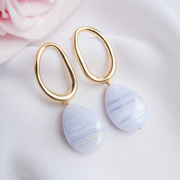 Organic-shaped Ear Studs with Teardrop Blue Lace Agate