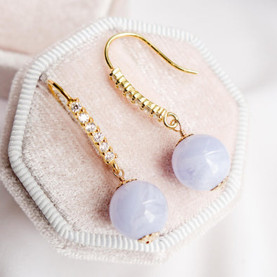 Sparkly Hook Earrings with Blue Lace Agate Bead