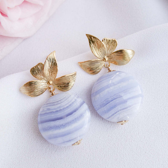 Four Petal Ear Studs with Blue Lace Agate Disc