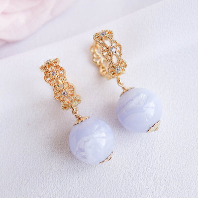 Intricate Ear Hoops with Blue Lace Agate Bead